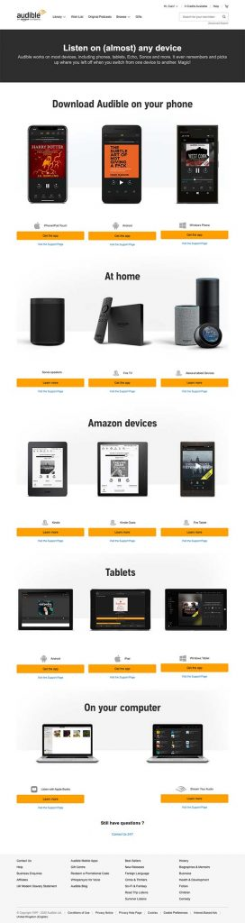 complete list of devices to use with audible.