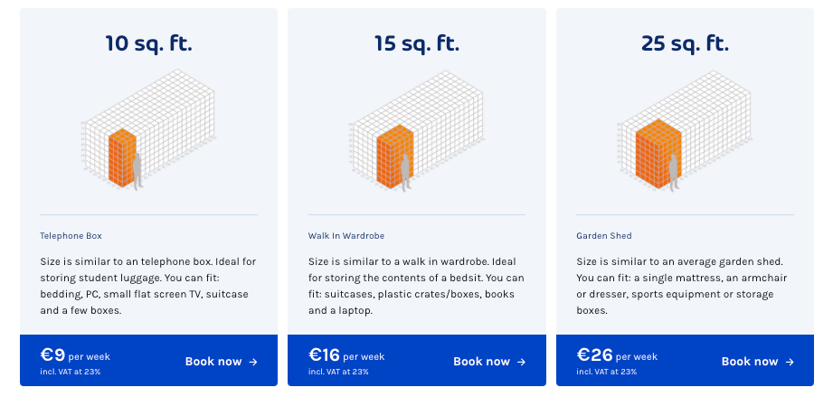 storebox.ie container sizes