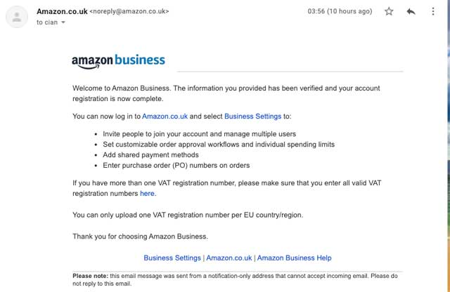 amazon business ireland approval mail.