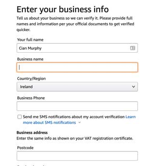 amazon business information form for Irish business