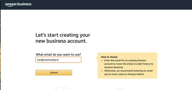 create an amazon business account