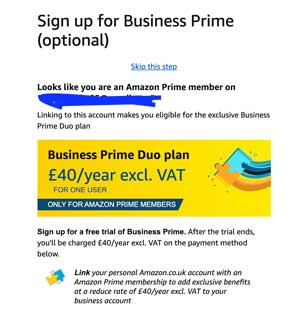 amazon personal and business email option