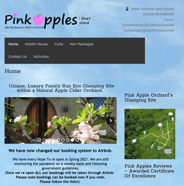 Pink Apple Orchard, Camping Site Leitrim.